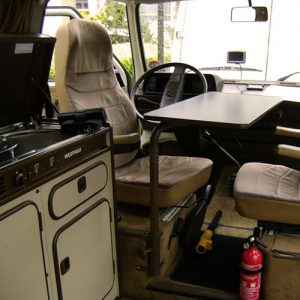 VW T25 Westfalia campervan for hire london front seats