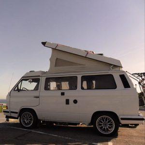 VW T25 Westfalia campervan for hire london pop top roof up
