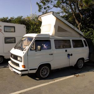 VW T25 Westfalia campervan for hire london pop top roof up on site