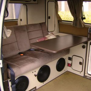 VW T25 Westfalia campervan for hire london rear seats and bed