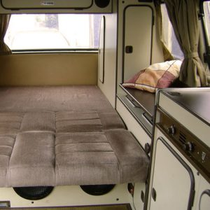 VW T25 Westfalia campervan for hire london rock and roll bed down