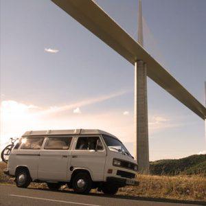 VW T25 Westfalia campervan for hire london under bridge
