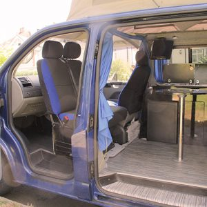 VW campervan hire London VW T5 campervan front swivel seat