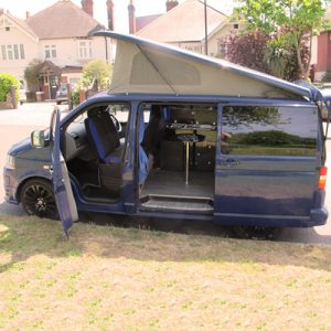 VW campervan hire London VW T5 campervan pop top roof up