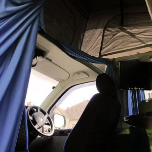 VW campervan hire London VW T5 campervan pop top roof up inside