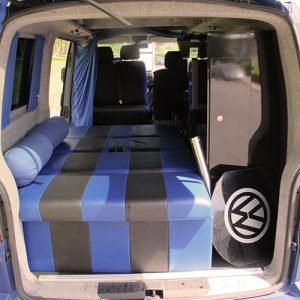 VW campervan hire London VW T5 campervan rear boot open