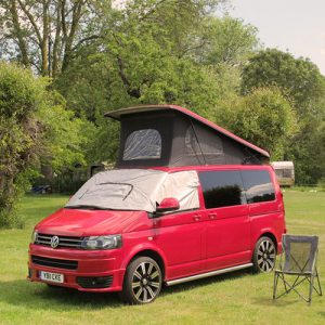 VW campervan hire London VW T5 campervan red front pop top roof screen wrap