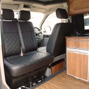 VW campervan hire London VW T5 campervan silver double front seat