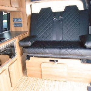 VW campervan hire London VW T5 campervan silver double rear seat rock and roll bed