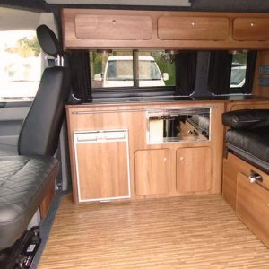 VW campervan hire London VW T5 campervan silver living area