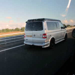 VW campervan hire London VW T5 campervan silver rear