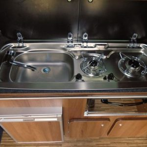 VW campervan hire London VW T5 campervan silver sink and hob