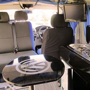 VW campervan hire London VW T5 campervan swivel seat and table