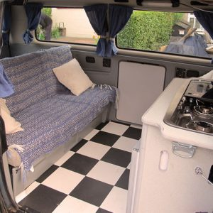 VW campervan rental London VW T25 campervan automatic full width bed