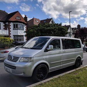 VW Campervan hire London Premium silver Carl Front outside
