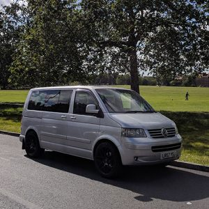 VW Campervan hire London Premium silver Carl front outside 2