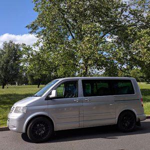 VW Campervan hire London Premium silver Carl outside side